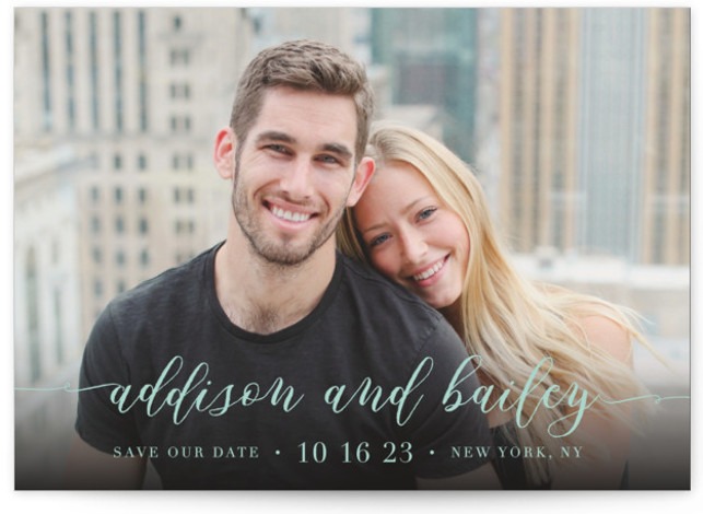 This is a landscape, portrait classic and formal, blue Save the Dates by Lehan Veenker called Simply Us with Standard printing on Signature in Postcard Flat Card format. A full bleed photo save the date featuring lovely script type.
