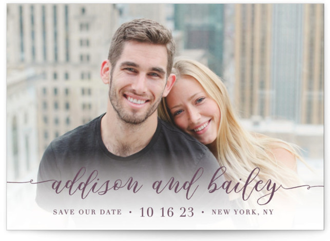 This is a landscape, portrait classic and formal, red Save the Dates by Lehan Veenker called Simply Us with Standard printing on Signature in Postcard Flat Card format. A full bleed photo save the date featuring lovely script type.