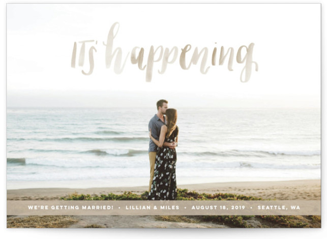 This is a landscape bohemian, beige, brown Save the Dates by Anchored Paper Co. called It's Happening with Standard printing on Signature in Postcard Flat Card format. It's happening! Celebrate your upcoming nuptials and inform your guests about the upcoming ...