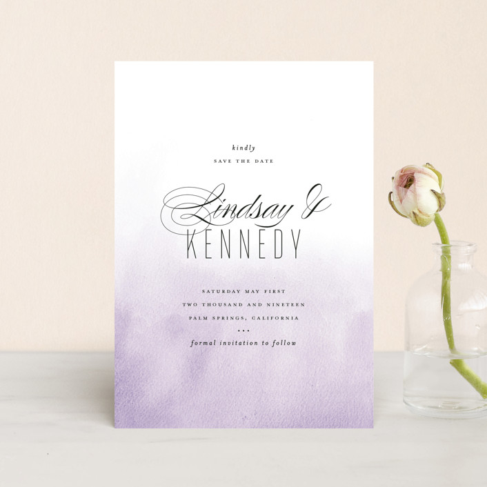 """""""Ombre"""" - Save The Date Postcards in Lilac by Roxy Cervantes."""