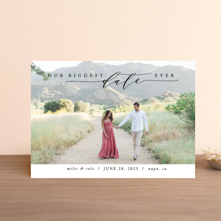 """""""Biggest Date Ever"""" - Save The Date Postcards in Dove White by Kate Ross."""