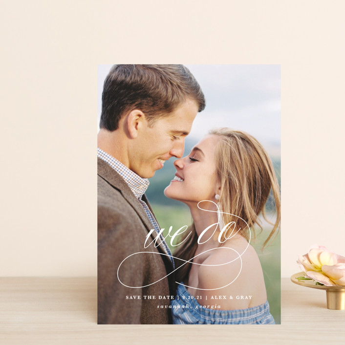 """""""WeDo"""" - Save The Date Postcards in Cotton by Lauren Chism."""