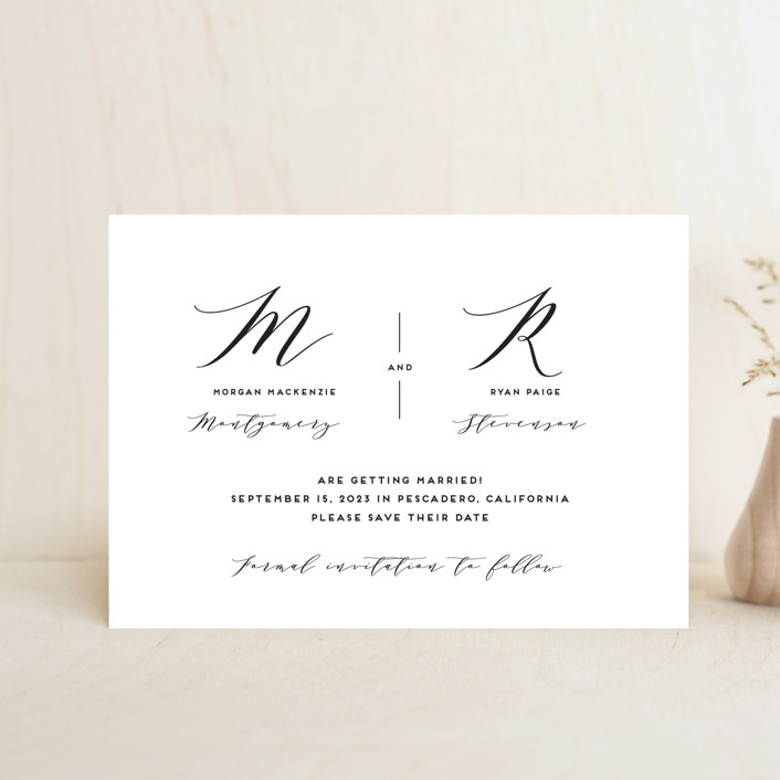 """Elegant Monogram"" - Save The Date Postcards in Berry by Simona Camp."
