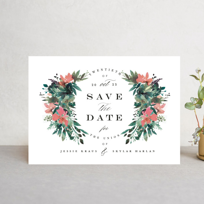 """""""Painted Laurel"""" - Save The Date Postcards in Peach by Lori Wemple."""