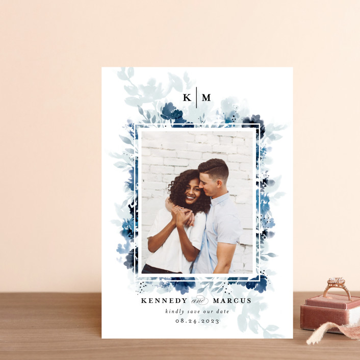 """""""border blooms"""" - Save The Date Postcards in Bluebell by Angela Marzuki."""