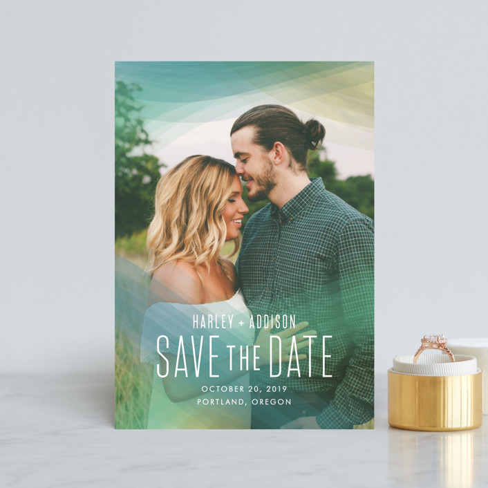 """Radiant Simplicity"" - Modern Save The Date Postcards in Meadow by jomolo."