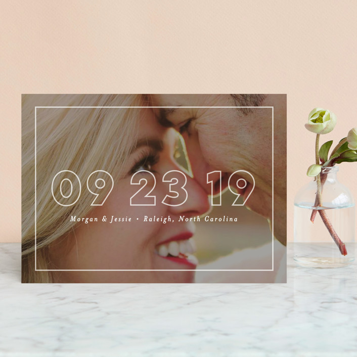 """Just Picture It"" - Save The Date Postcards in White by Pink House Press."