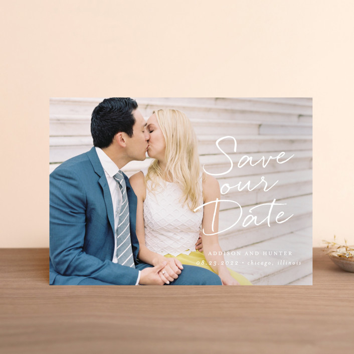 """""""Scripted Note"""" - Save The Date Postcards in Snow by Lehan Veenker."""