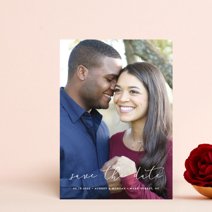 """""""Etched in love"""" - Save The Date Postcards in Cloud by Stacey Meacham."""