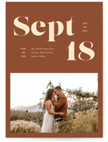 This is a brown save the date postcard by April Astudillo called Bold Print with standard printing on signature in postcard.