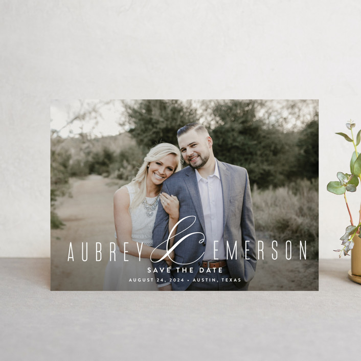 """""""Resplendent"""" - Save The Date Postcards in White by Jessica Williams."""