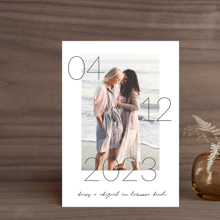 """""""Lucky Date"""" - Save The Date Postcards in Snow by Simona Camp."""