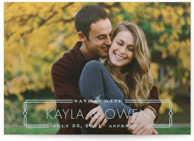 This is a landscape vintage, blue Save the Dates by Shirley Lin Schneider called Vintage Frame with Standard printing on Signature in Postcard Flat Card format. A full bleed one photo save the date card featuring retro inspired frame with ...
