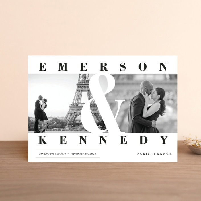 """Timeless"" - Save The Date Postcards in Diamond by Playground Prints."