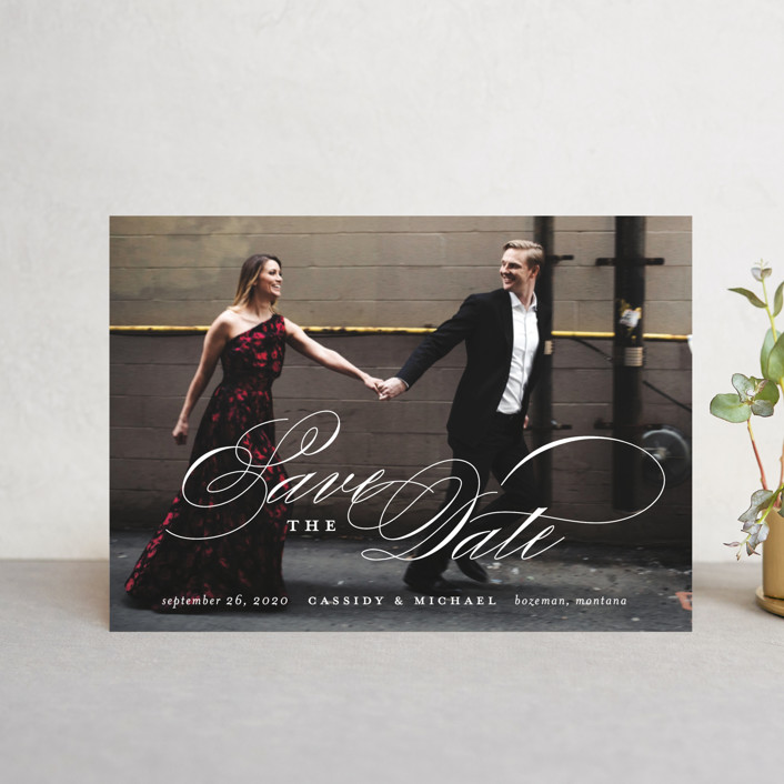 """Eternity"" - Save The Date Postcards in Quartz by Jessica Williams."