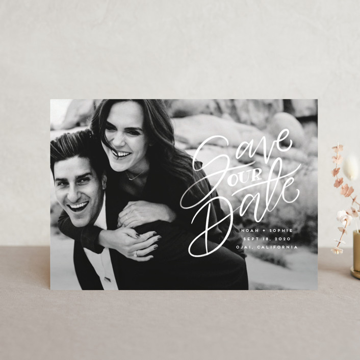 """Written with Love"" - Save The Date Postcards in Quartz by Leah Bisch."