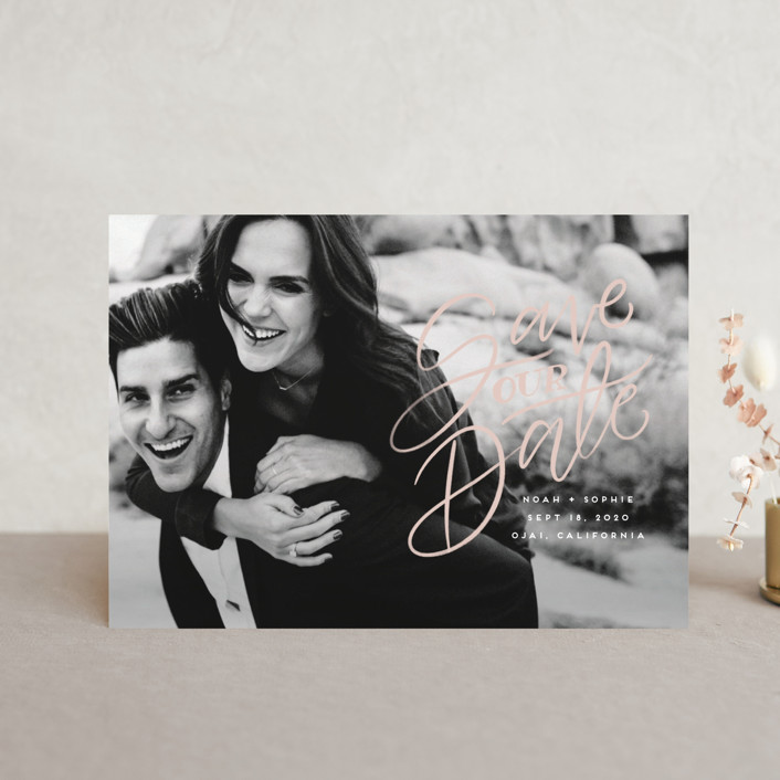 """""""Written with Love"""" - Save The Date Postcards in Quartz by Leah Bisch."""