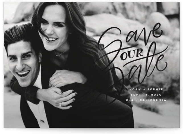This is a landscape classic and formal, black Save the Dates by Leah Bisch called Written with Love with Standard printing on Signature in Postcard Flat Card format. Hand lettered save the date in an elegant dreamy script