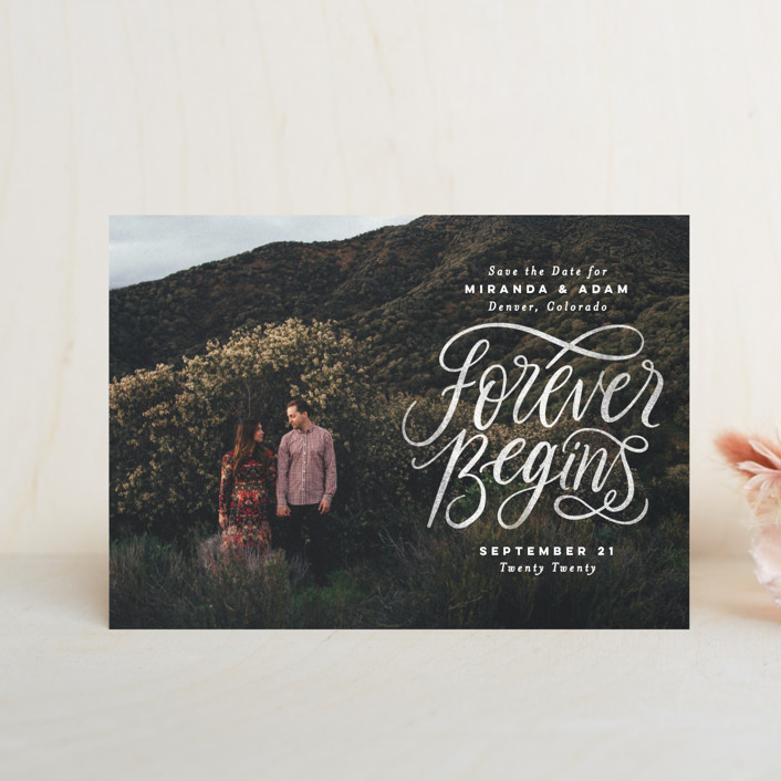 """""""Forever Begins"""" - Bohemian Save The Date Postcards in Chalk by Pink House Press."""