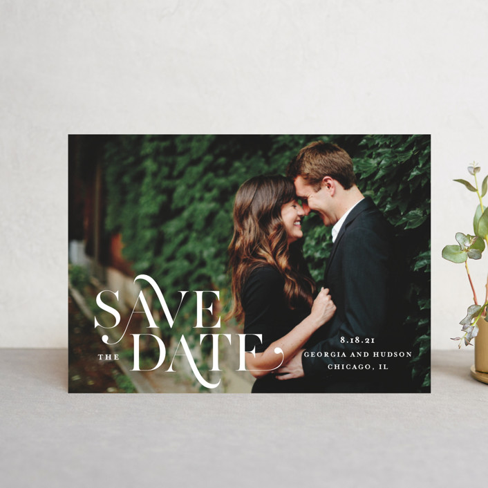 """Stacked Serif"" - Save The Date Postcards in Cream by Lauren Chism."