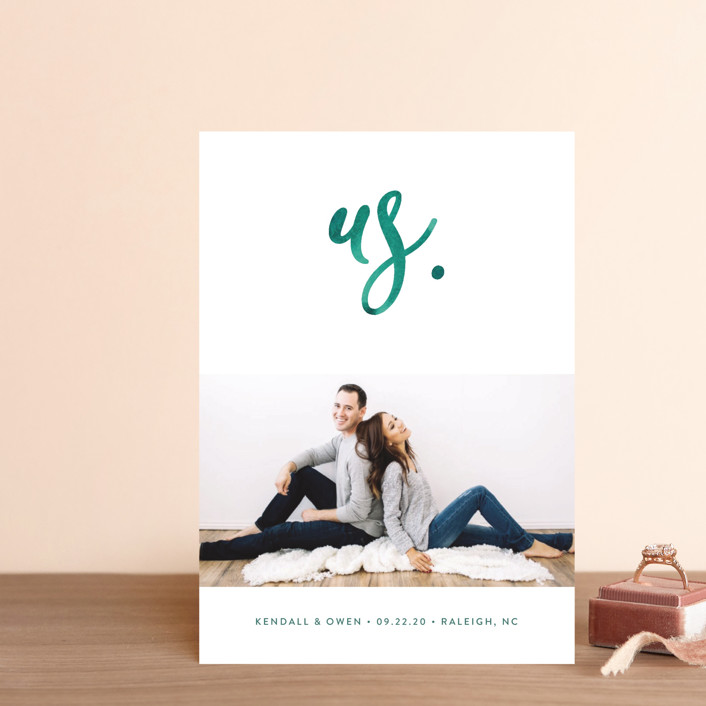 """""""Simply Us"""" - Save The Date Postcards in Forest by Jessica Maslyn."""