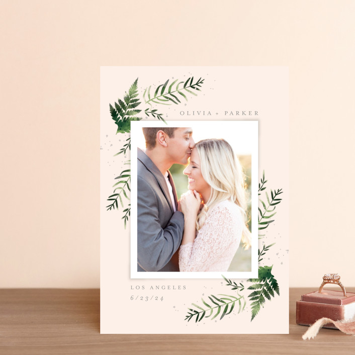 """""""Fresh Fern"""" - Save The Date Postcards in Snow by Kristie Kern."""
