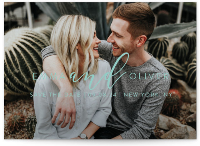 This is a landscape, portrait modern, blue Save the Dates by Jessica Voong called Simply Written with Standard printing on Signature in Postcard Flat Card format. This design features a simple and modern type with the couples name.