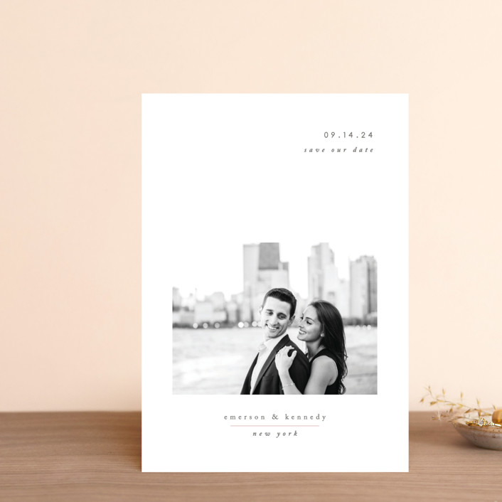 """""""Minimal Romance"""" - Save The Date Postcards in Cloud by Playground Prints."""