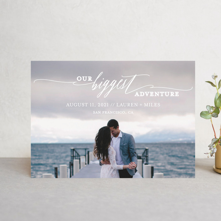 """Our Biggest Adventure"" - Bohemian Save The Date Postcards in Almost Blush by Kate Ross."