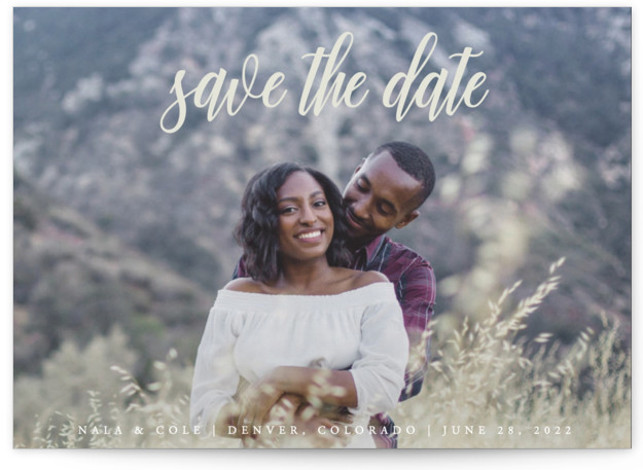 This is a landscape, portrait classic and formal, classical, formal, green Save the Dates by Kate Ross called mystic with Standard printing on Signature in Postcard Flat Card format. Fresh script type with minimal text for a simple style