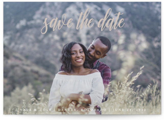This is a landscape, portrait classic and formal, classical, formal, brown Save the Dates by Kate Ross called mystic with Standard printing on Signature in Postcard Flat Card format. Fresh script type with minimal text for a simple style