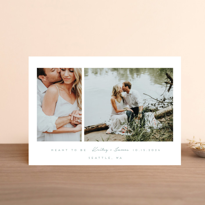 """""""meant to be"""" - Save The Date Postcards in Tuxedo by Angela Garrick."""