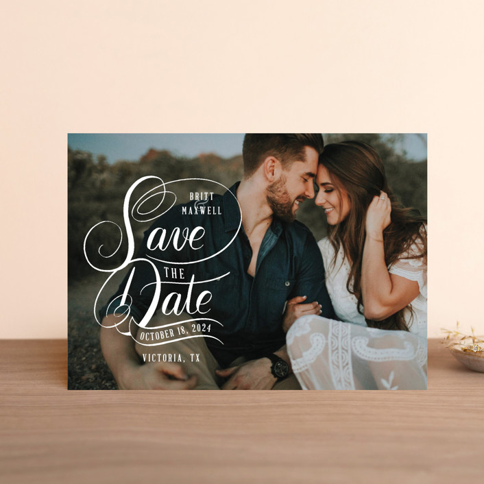 """""""Stacked Script Save the Date"""" - Hand Drawn Save The Date Postcards in Sugar by Becky Nimoy."""