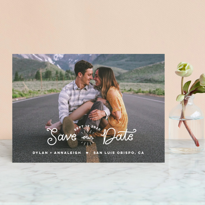 """""""Sweetly Saved"""" - Bohemian Save The Date Postcards in Cloud by Lawren Ussery."""