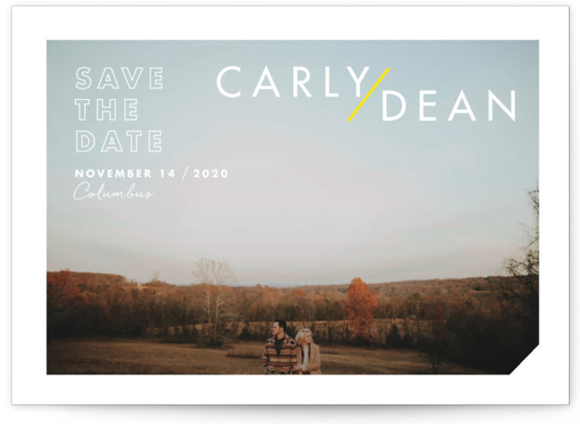 This is a landscape, portrait bold and typographic, yellow Save the Dates by Keen Peachy called Modern Expression with Standard printing on Signature in Postcard Flat Card format. A minimal, modern save the date with clean type and dramatic names. ...