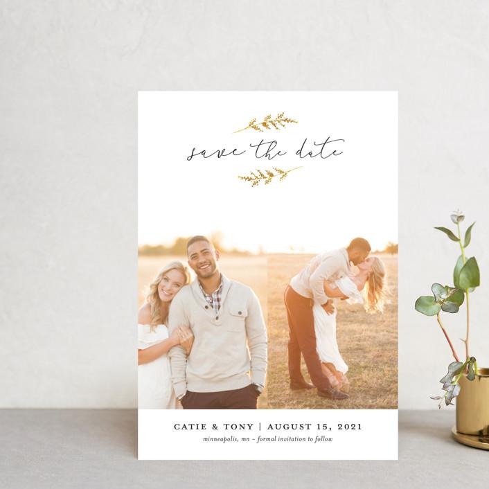 """""""Wheat Field"""" - Save The Date Postcards in Golden Field by Robin Ott."""