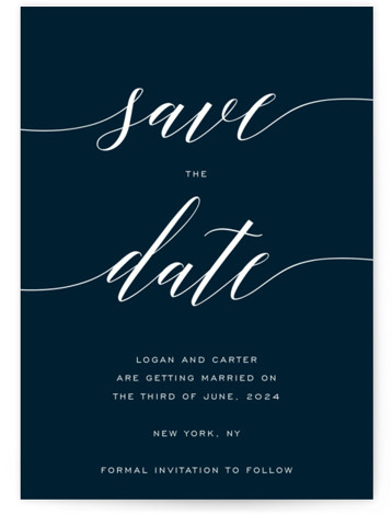 This is a portrait simple and minimalist, blue Save the Dates by Design Lotus called Someone Like You with Standard printing on Signature in Postcard Flat Card format. Modern minimal