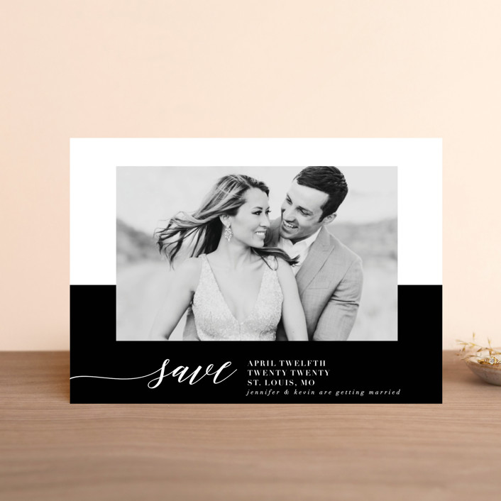"""""""Black Tie Affair"""" - Classical, Minimalist Save The Date Postcards in Tuxedo by lena barakat."""
