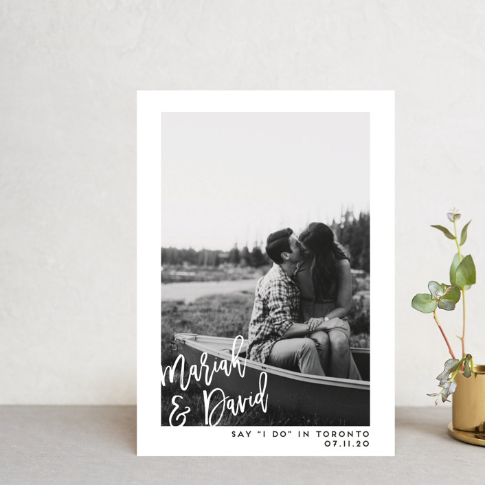"""""""Say I Do"""" - Minimalist, Simple Save The Date Postcards in Blanc by Paige Carrington."""