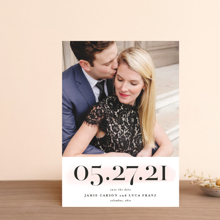 """Tall"" - Save The Date Postcards in Blush by Lea Delaveris."