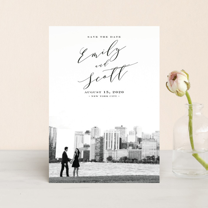 """New York Classic"" - Save The Date Postcards in Midnight by Nicoletta Savod."