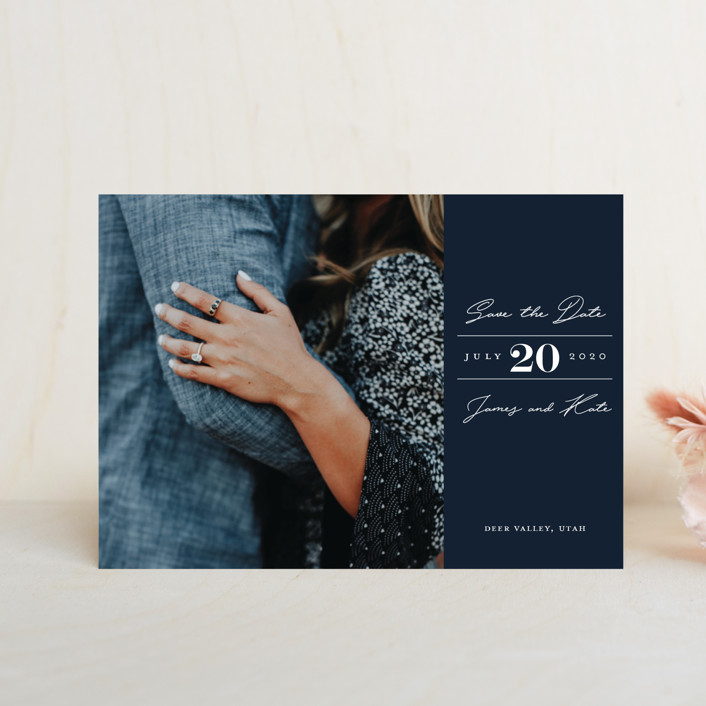 """In Love"" - Simple Save The Date Postcards in Navy by Eric Clegg."