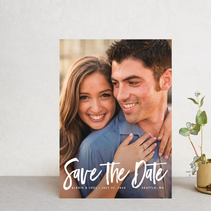 """brushed lettering"" - Save The Date Postcards in Linen by Kelly Schmidt."