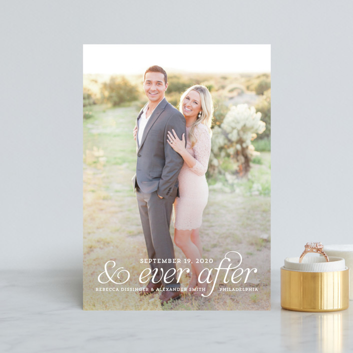 """and Ever After"" - Bohemian Save The Date Postcards in Cloud by Kim Dietrich Elam."