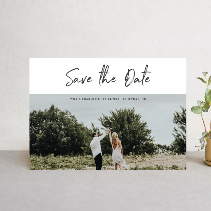 """""""Modern sentiment"""" - Save The Date Postcards in Mountain by Stacey Meacham."""