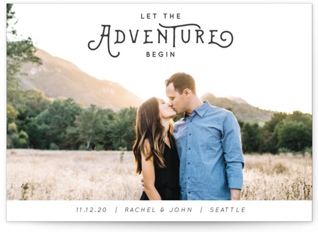 This is a landscape, portrait bohemian, simple, whimsical, grey Save the Dates by Kasia Labocki called The Adventure with Standard printing on Signature in Postcard Flat Card format. And the adventure begins with this photo feature announcing your big day ...