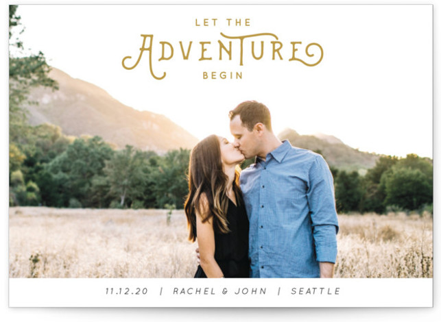 This is a landscape, portrait bohemian, simple, whimsical, yellow Save the Dates by Kasia Labocki called The Adventure with Standard printing on Signature in Postcard Flat Card format. And the adventure begins with this photo feature announcing your big day ...
