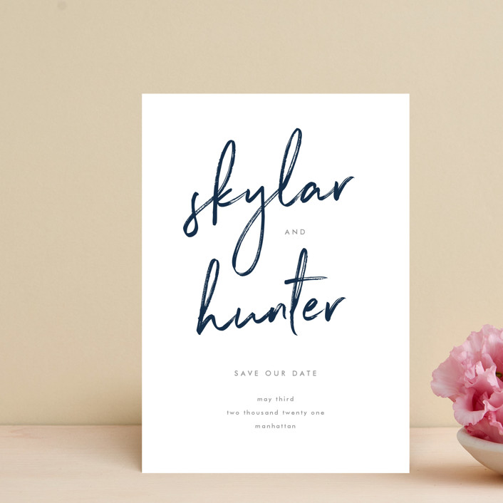 """""""Funky Names"""" - Save The Date Postcards in Navy by Phrosne Ras."""