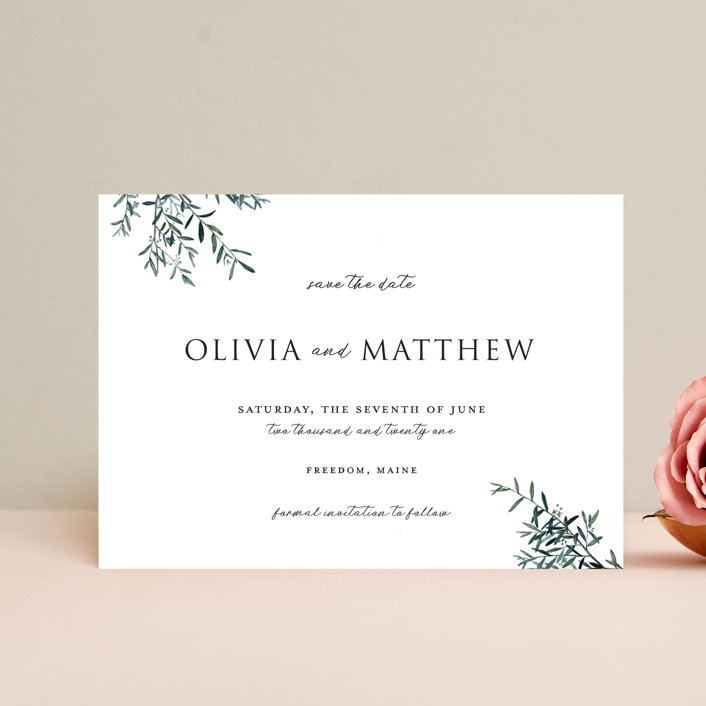 """""""Fresh Sage"""" - Save The Date Postcards in Olive by Christie Kelly."""