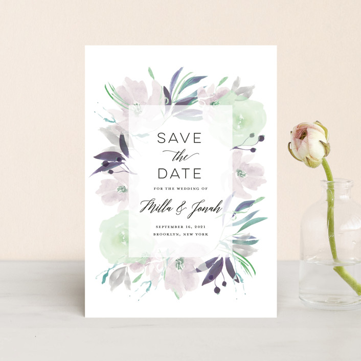 """Grande Botanique"" - Save The Date Postcards in Mist by Bonjour Paper."